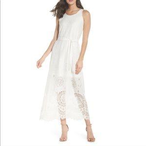 NWT CAARA white lace maxi shift dress size S